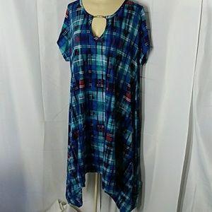 Plus Size Blue Plaid Tent Style Dress